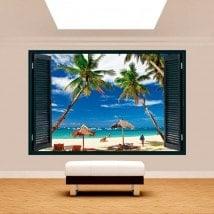 Alberi di Palma 3D finestra sulla spiaggia