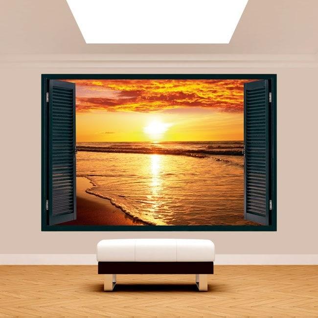 Tramonto 3D finestra sulla spiaggia