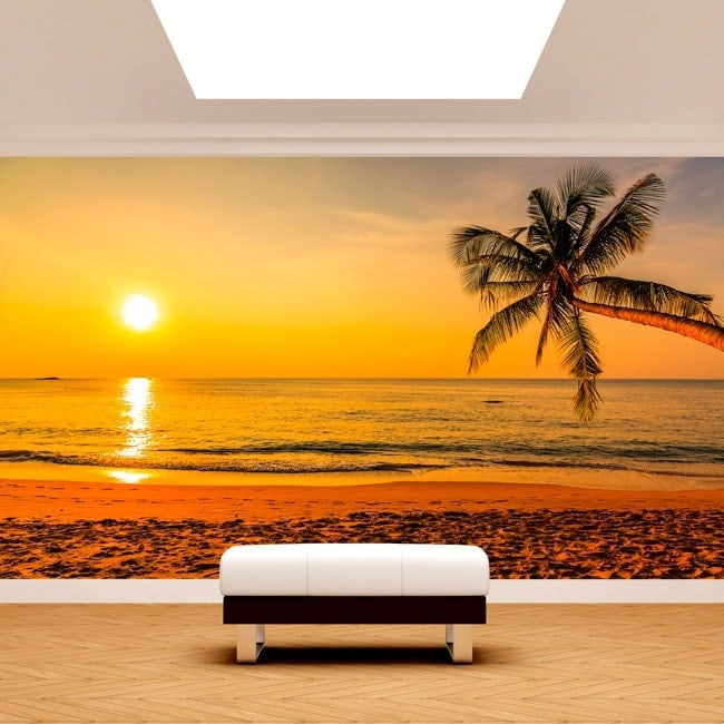 Fotomurale palma albero tramonto