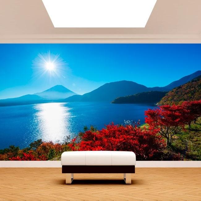 Foto muro murales tramonto Monte Fuji