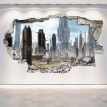 Città 3D con vinili di parete del rattan di Scifi del futuro