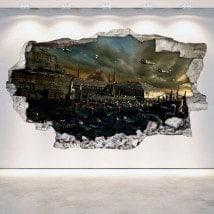 Rattan parete vinili città 3D fantascienza...