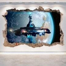 Vinile 3D foro muro astronave fantascienza Scifi