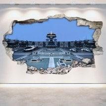Navi spaziali di rattan parete vinili fantascienza 3D