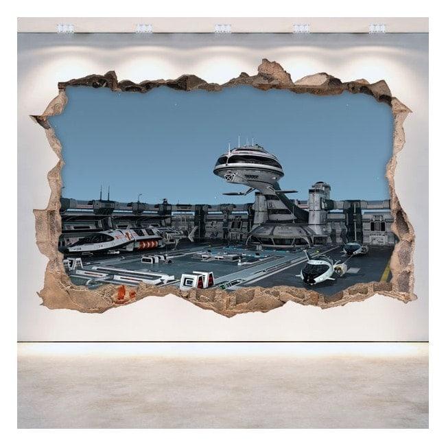 Navi spaziali 3D di rattan parete vinili