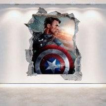 Parete 3D rotto vinile Capitan America
