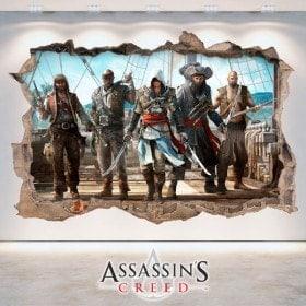 Creed di vinile 3D foro muro Assassin
