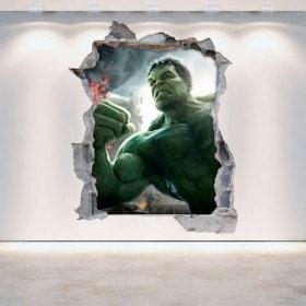 Parete 3D vinile rotto Hulk