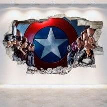 Parete in vinile Capitan America rotto 3D