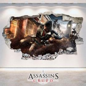 Parete in vinile rotto Creed 3D di Assassin's