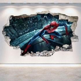 Parete 3D vinile rotto Spiderman