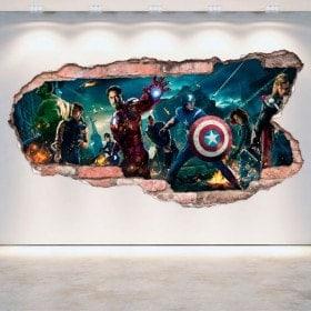 Parete in vinile rotto 3D Captain America