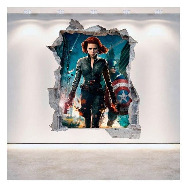 3D parete-rotta vinile Capitan America