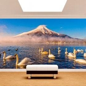 Foto muro murales cigni lago Kawaguchi mt. Fuji
