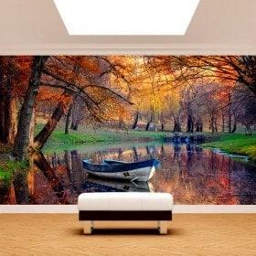 Barca di murales muro foto sul lago