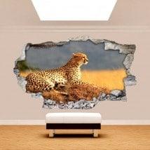 Vinile di parete 3D Leopardo Africa rotto