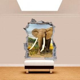 Parete in vinile rotto dell'elefante 3D Africa