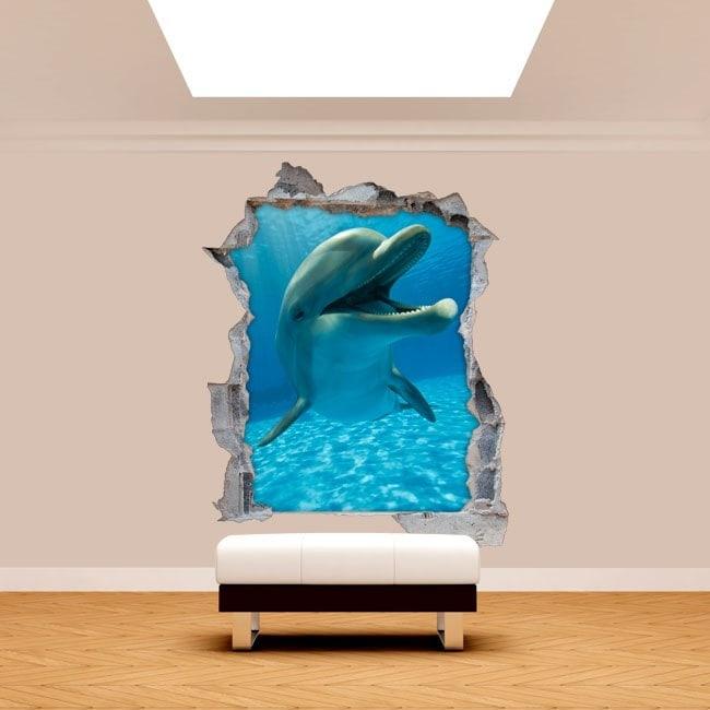 Parete in vinile rotante delfini 3D
