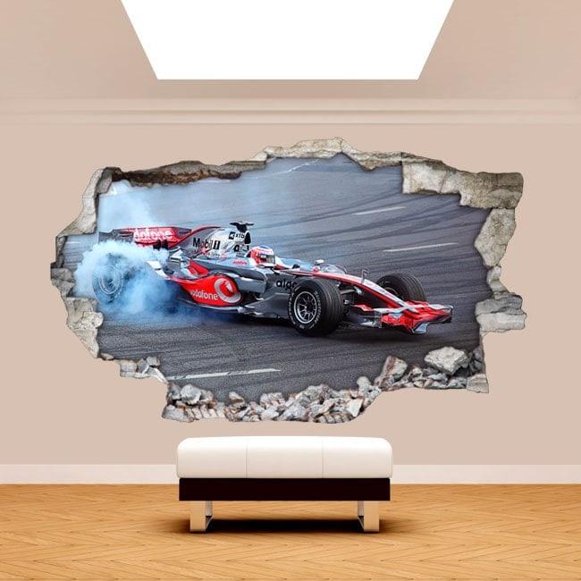 Parete in vinile rotto 3D Formula 1