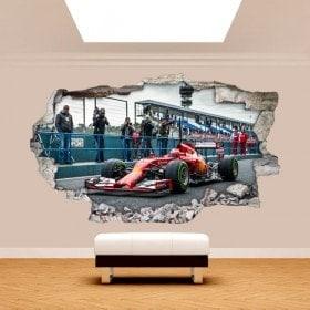 Vinile 3D parete rotta auto Formula 1