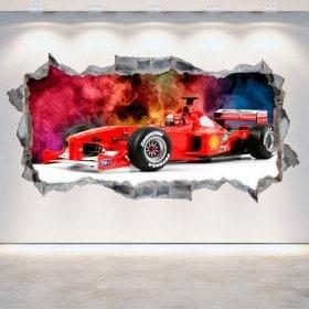Parete di vinile 3D Formula 1 foro