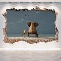 Vinile elefante parete del foro e del cane 3D