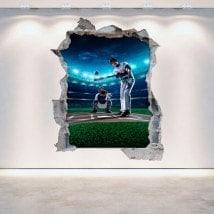Parete in vinile rotto Baseball 3D Italian 5293