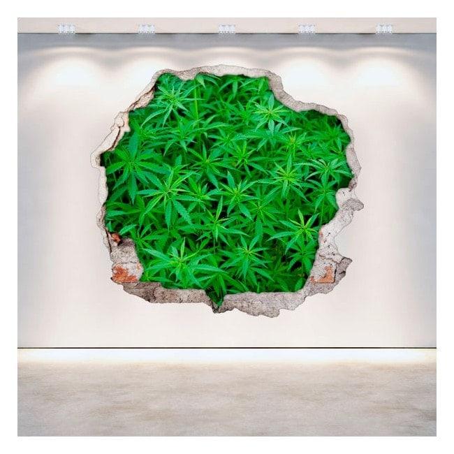 Parete 3D del foro di marijuana di vinile