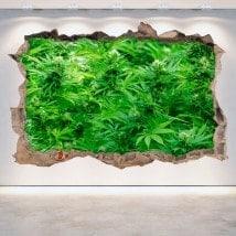 Marijuana di parete-rotta di vinile 3D