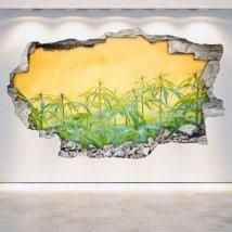 Marijuana in vinile rotto parete 3D