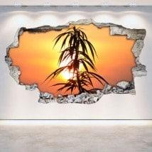 Luminescenti pannelli divisori fluowall marijuana 3D parete-rotta