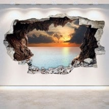 Parete in vinile rotto grotte 3D