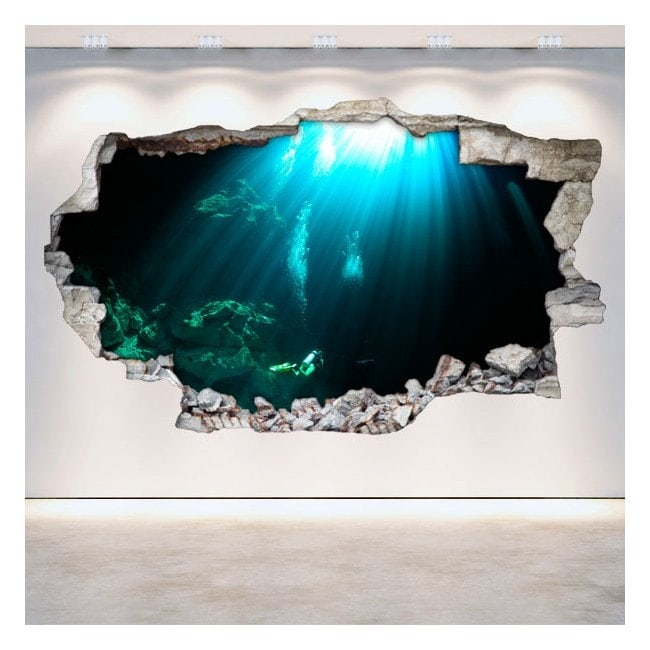Vinile parete-rotta grotte sottomarine 3D