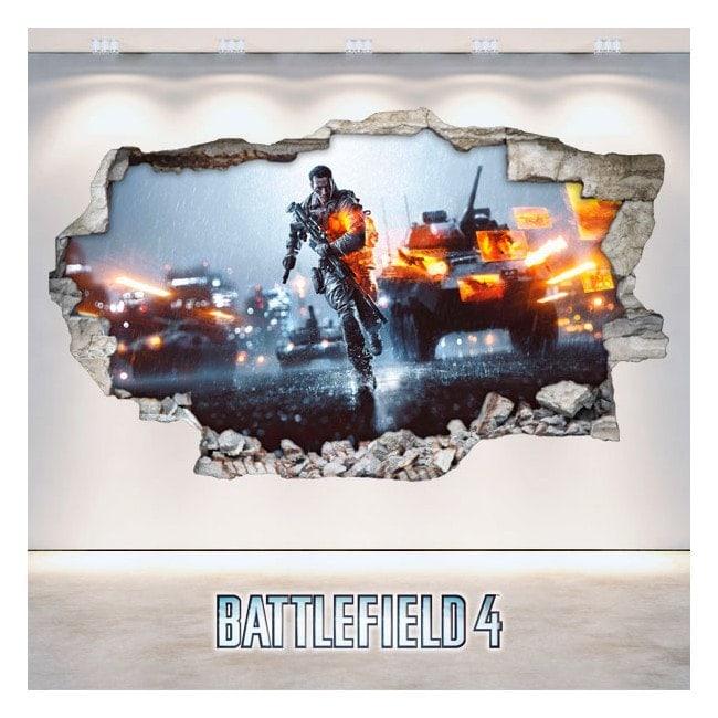 Luminescent pannelli parete divisoria fluowall Battlefield rotto 3D