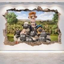 Vinile decorativo la pecora Shaun 3D