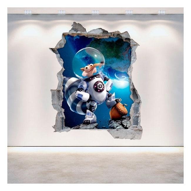 Vinile decorativo 3D Ice Age 5 muro rotto