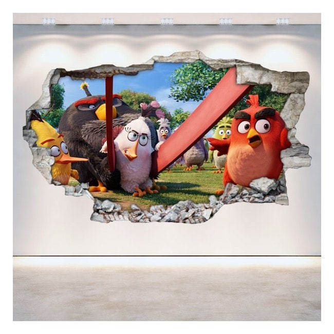 Luminescenti pannelli divisori fluowall Angry Birds 3D muro rotto