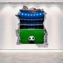 Stadio di calcio 3D rotto di vinile parete