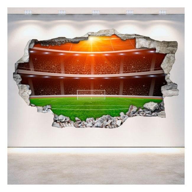Parete di calcio stadio vinile rotto 3D