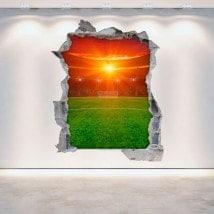Parete 3D rotto di stadio di calcio di vinile Italian 5376