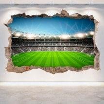 Murale di stadio di calcio in vinile rotto 3D