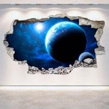 Pianeti rotanti di vinile parete spazio 3D