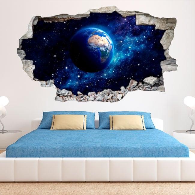 Muro di terra pianeta 3D vinile rotto