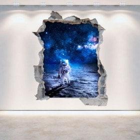 Astronauta di parete-rotta 3D di vinile sulla luna
