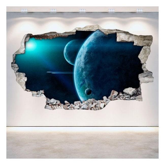 Parete in vinile rotante pianeti nello spazio 3D