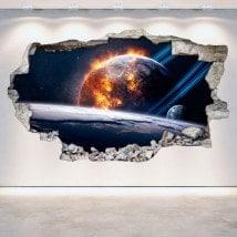 3D pianeti in vinile spazio parete-rotta
