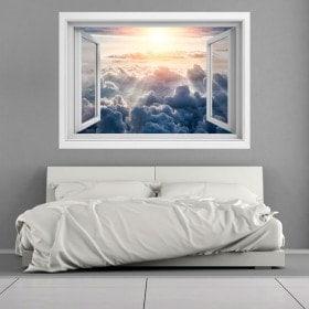 Raggi 3D Windows di sole tra le nuvole