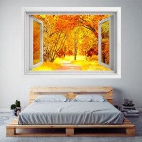 Windows 3D strada alberi autunno e