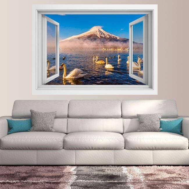 Windows 3D cigni lago Kawaguchi mt. Fuji