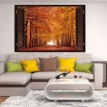 3dwindow di strada e gli alberi di autunno